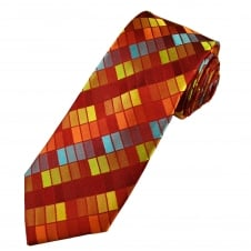 Tresanti Reale Shades Of Red, Gold & Blue Rectangle Patterned Silk Designer Tie