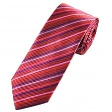 Tresanti Reale Shades Of Red, Pink & Purple Striped Silk Designer Tie