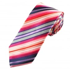 Tresanti Reale Shades Of Red, Purple, Navy Blue & Silver Striped Silk Designer Tie