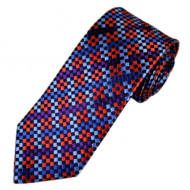 Tresanti Reale Shades Of Red, Purple, Pink & Silver Checked Silk Designer Tie