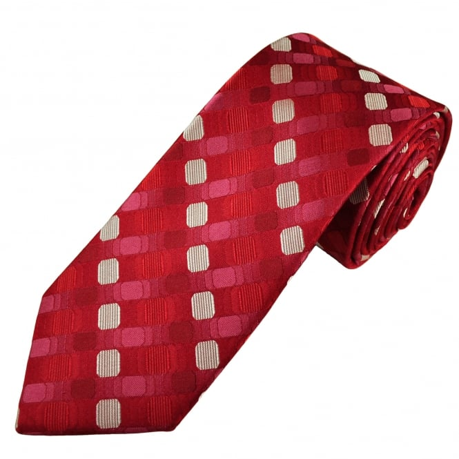 Tresanti Reale Shades Of Red & silver Patterned Silk Designer Tie
