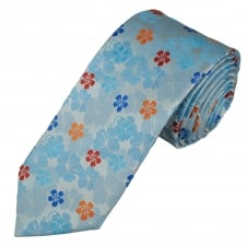 Tresanti Reale Silver, Blue, Orange & Red Flower Patterned Silk Designer Tie
