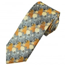 Tresanti Reale Silver, Gold & Black Circles Patterned Silk Designer Tie