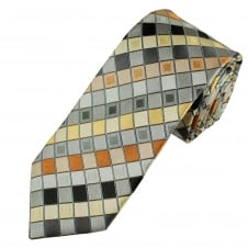 Tresanti Reale Silver, Orange & Yellow Square Patterned Silk Designer Tie