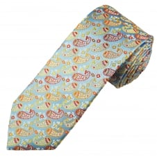 Tresanti Reale Silver, Red, Orange, White & Yellow Paisley Patterned Silk Designer Tie