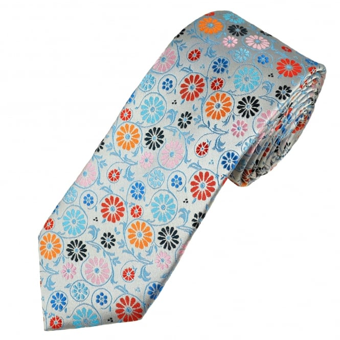 Tresanti Reale Silver, Shades Of Blue, Red, Pink & Orange Flower Patterned Silk Designer Tie