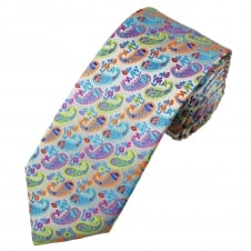 Tresanti Reale Silver, Sky Blue, Royal Blue, Turquoise, Orange, Red, Fuchsia Pink & Green Paisley Patterned Silk Designer Tie
