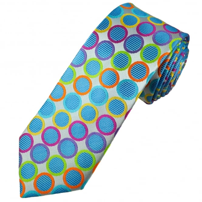 Tresanti Reale Silver, Sky Blue, Turquoise, Orange, Lilac, Green & Fuchsia Pink Circles Patterned Silk Designer Tie