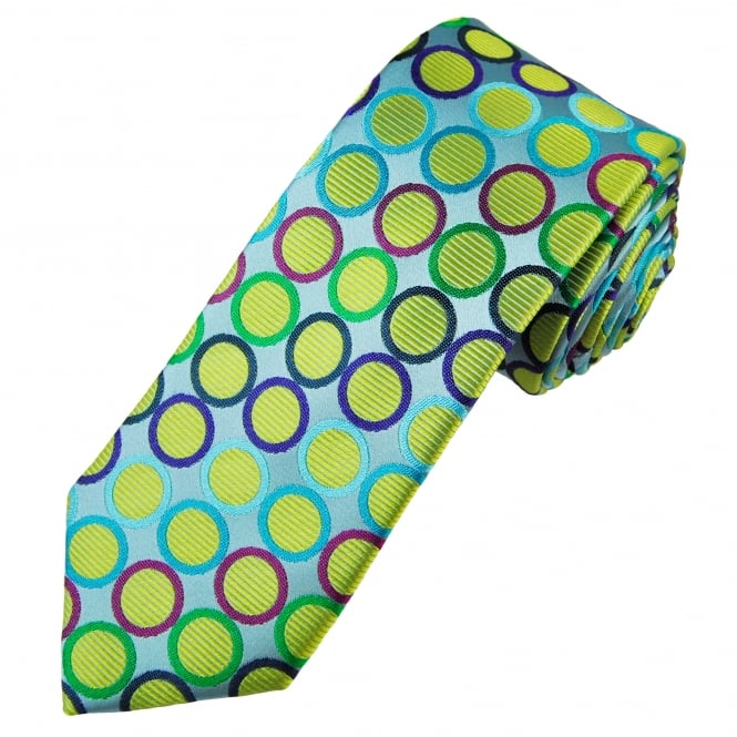 Tresanti Reale Silver, Yellow, Green, Turquoise, Purple, Black & Fuchsia Pink Circles Patterned Silk Designer Tie