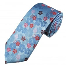 Tresanti Reale Sky Blue, Red, Pink & Burgundy Flower Patterned Silk Designer Tie