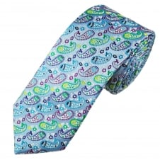 Tresanti Reale Sky Blue, White, Purple, Green, Turquoise & Yellow Paisley Patterned Silk Designer Tie