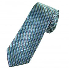 Tresanti Reale Turquoise, Pink, Green & Silver Zig Zag Patterned Silk Designer Tie