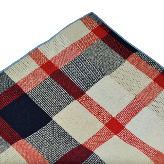 Tresanti Red, Navy & Ivory with Blue Edge Checked Linen Pocket Square Handkerchief