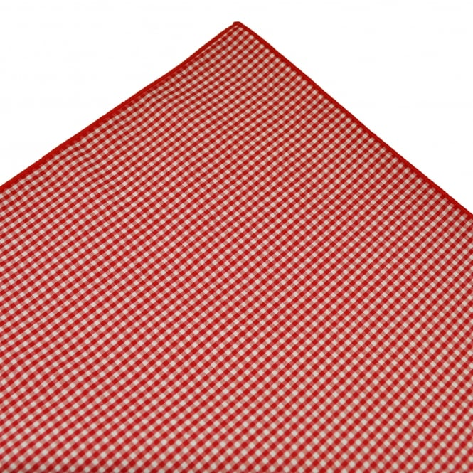 Tresanti Red & White Checked Cotton Pocket Square Handkerchief