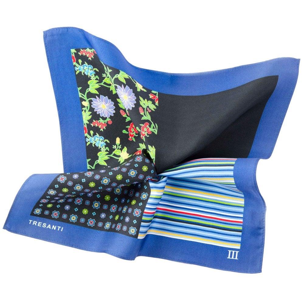 8fdf8a436b755 Tresanti Royal Blue & Black 4-Way Printed Silk Pocket Square Handkerchief  from Ties Planet UK