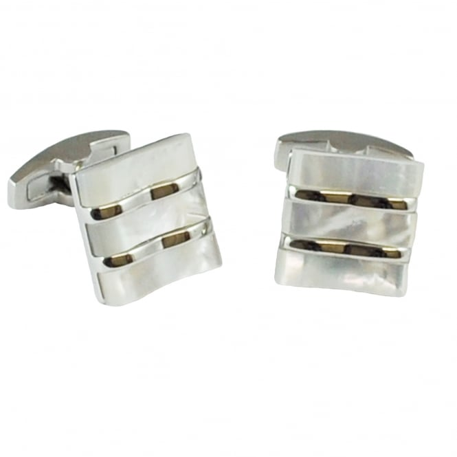 Tresanti Three Stripes Mother Of Pearl Designer Cufflinks