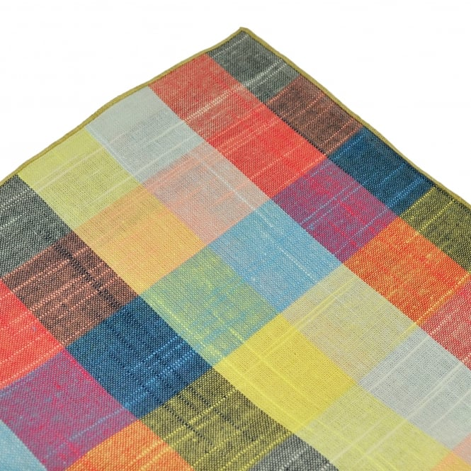 Tresanti Yellow, Red, Blue & Pink with Beige Edge Checked Linen Pocket Square Handkerchief