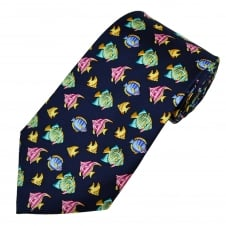 Tropical Fish Navy Blue Men's Silk Novelty Tie