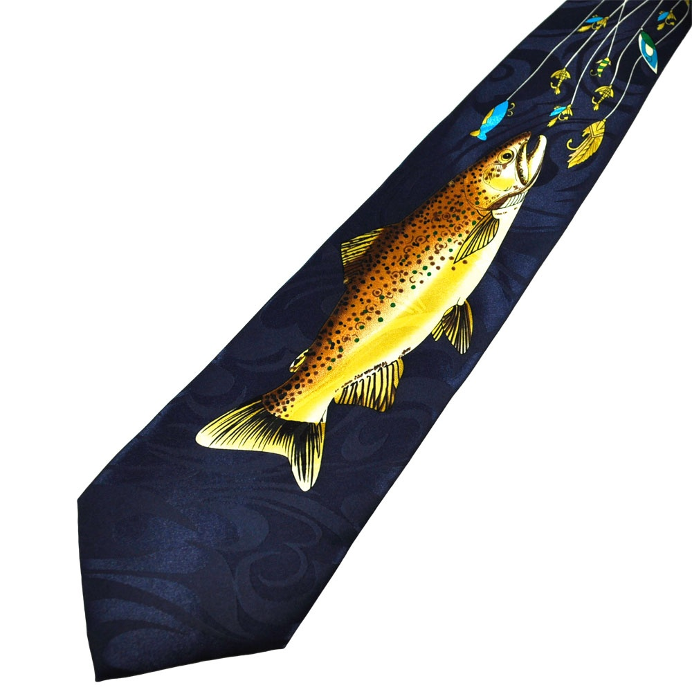 trout fly fishing blue novelty tie from ties planet uk