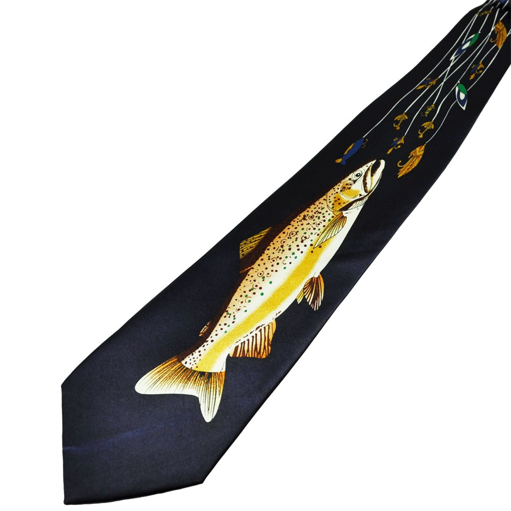 trout fly fishing navy blue novelty tie from ties planet uk