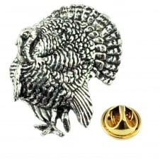 Turkey Bird English Pewter Lapel Pin Badge