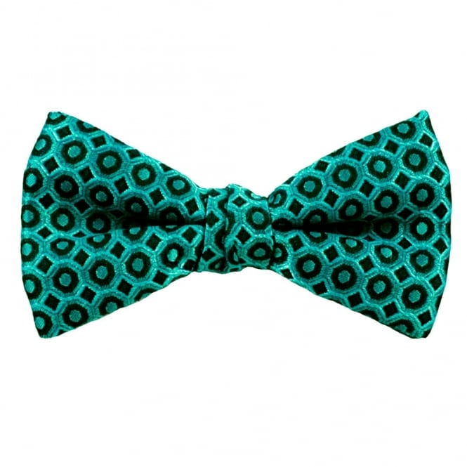 Turquoise & Black Patterned Silk Bow Tie