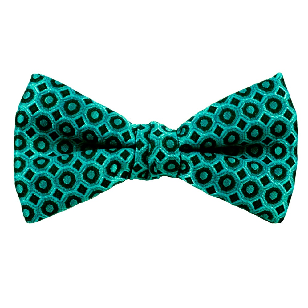 turquoise black patterned silk bow tie from ties planet uk