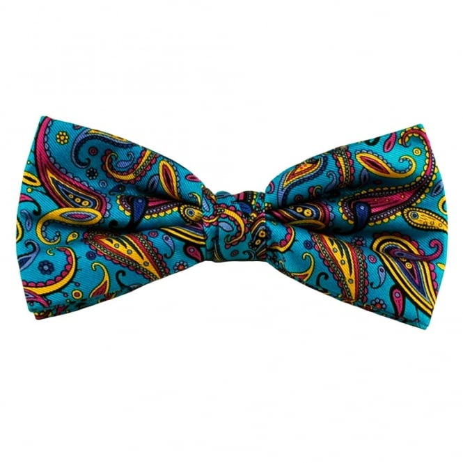 Turquoise, Blue & Yellow Large Paisley Silk Bow Tie