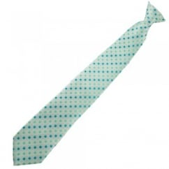 Turquoise & Mint Green Patterned Clip On Tie