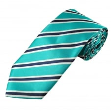 Turquoise, Navy Blue & White Striped Men's Tie