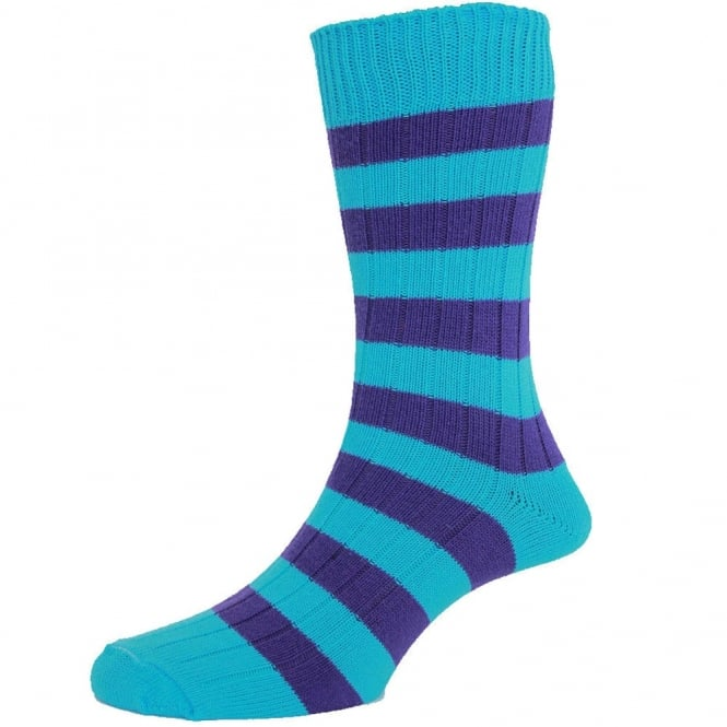Turquoise & Purple Striped Men's Socks by HJ Hall