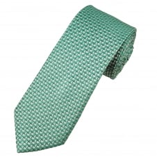 Turquoise, Silver & Blue Patterned Luxury Men's Silk Tie