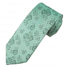 Turquoise & Silver Flower Patterned Luxury Men's Silk Tie