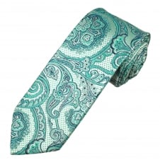 Turquoise, Silver & Navy Blue Patterned Luxury Men's Silk Tie