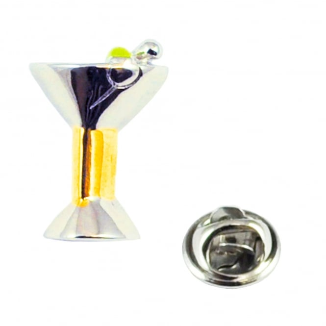 Two Tone Cocktail Glass Lapel Pin Badge