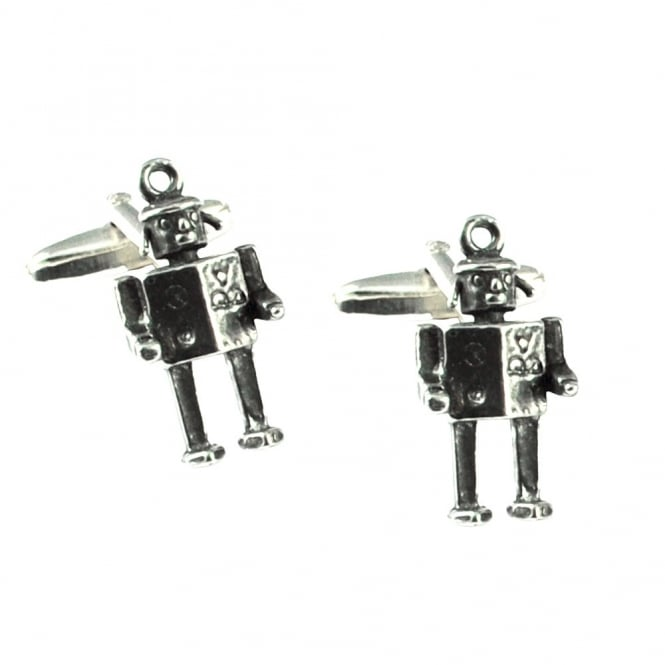 Uber Cool French Robot Pewter Cufflinks