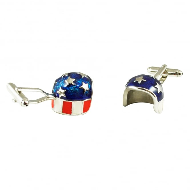 USA Stars & Stripes Crash Helmet Novelty Cufflinks