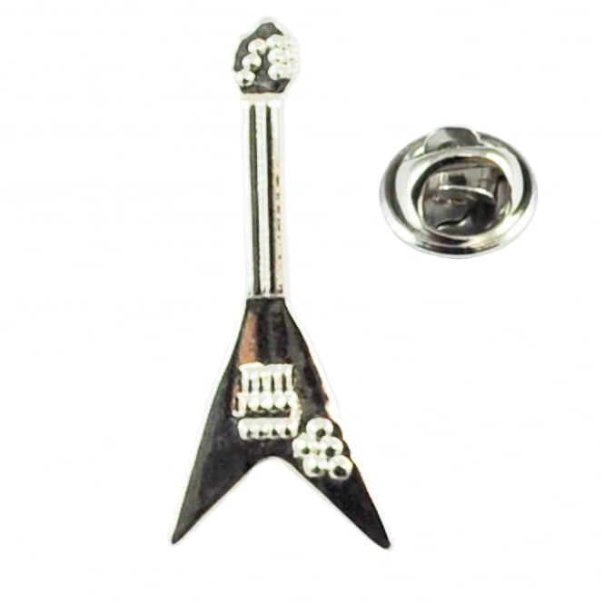 V Shaped Electric Guitar Lapel Pin Badge