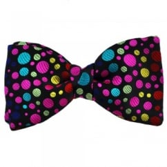 Van Buck Black & Colourful Dot Designer Silk Bow Tie - Limited Edition