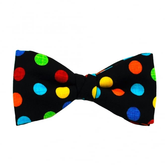 Van Buck Black & Colourful Polka Dot Bow Tie