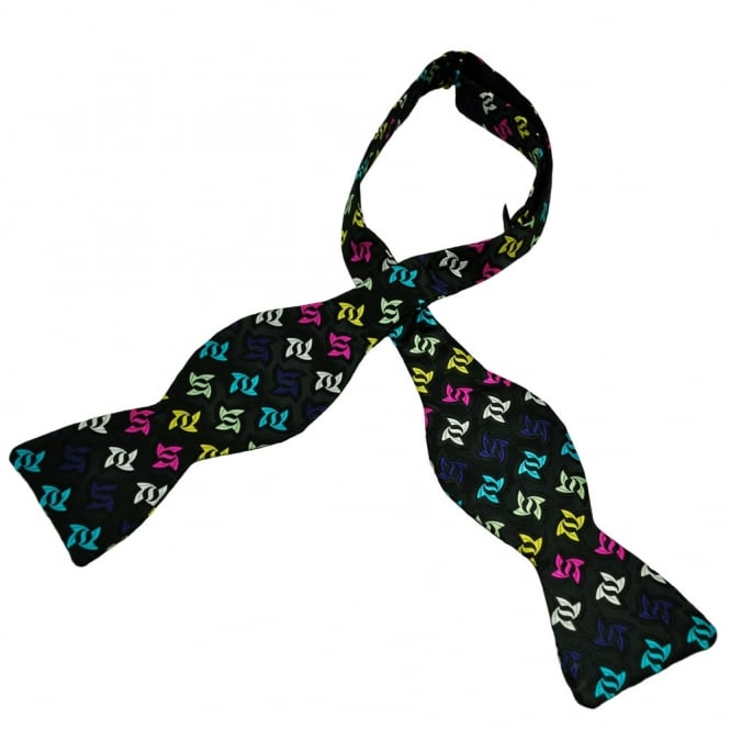 Van Buck Black & Colourful Star Patterned Silk Self Tie Bow Tie - Limited Edition