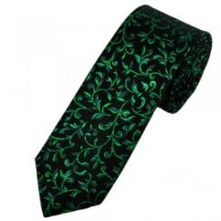 Van Buck Black & Green Patterned Skinny Prom Tie