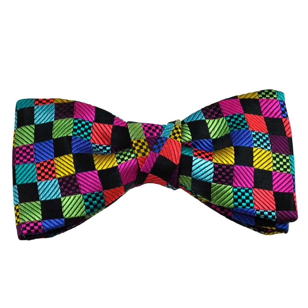 buck black multi coloured checked designer silk bow