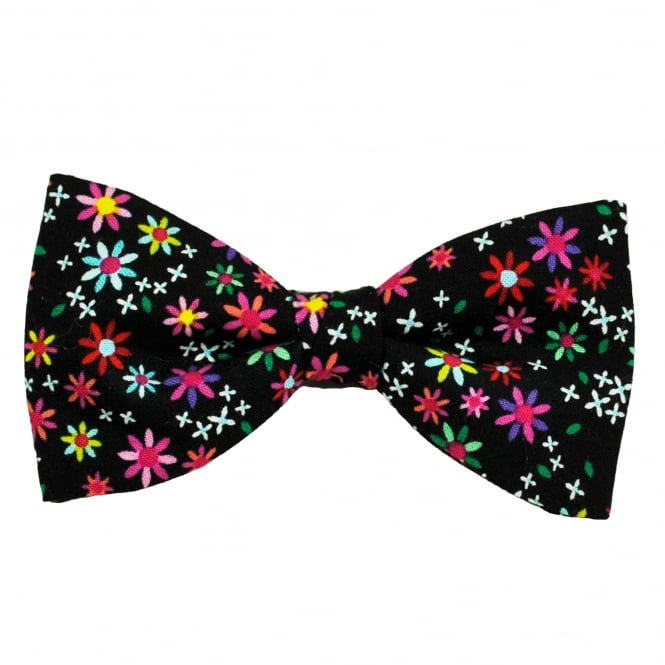 Van Buck Black & Multi Coloured Flower Patterned Novelty Bow Tie