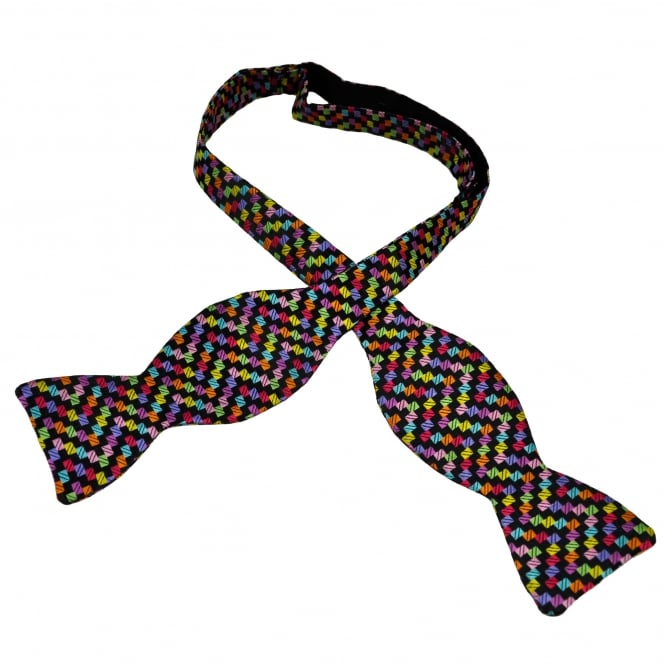 Van Buck Black & Multi Coloured Rectangle Patterned Silk Designer Self Tie Bow Tie- Limited Edition