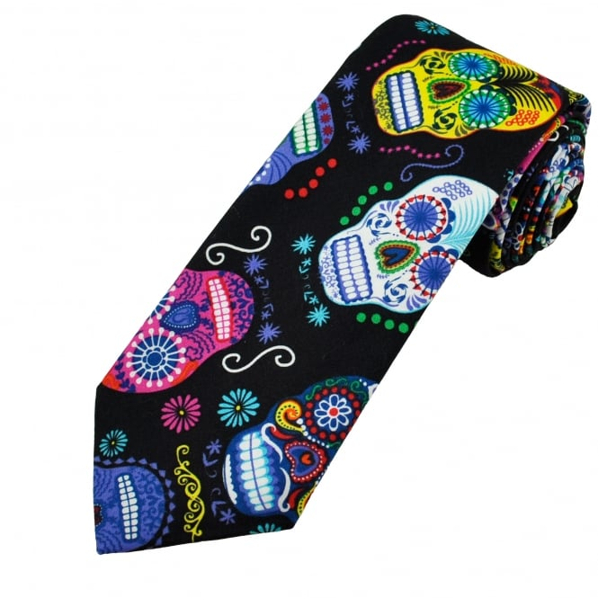 Van Buck Black, Navy, White, Yellow & Green Skull Cotton Men's Tie