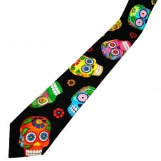 Van Buck Black, Orange, Green, Blue, Yellow, Pink & Red Skull Cotton Men's Tie