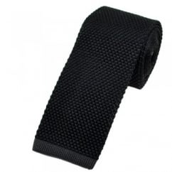 Van Buck Black Silk Knitted Tie with Charcoal Grey Square End
