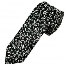 Van Buck Black & Silver Patterned Skinny Prom Tie