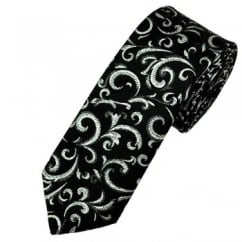 Van Buck Black & Silver Regal Patterned Skinny Prom Tie